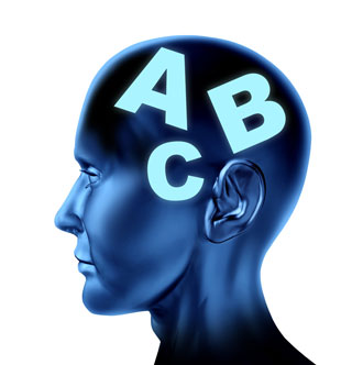 An illustration of a human head with the letters A B C superimposed on the brain