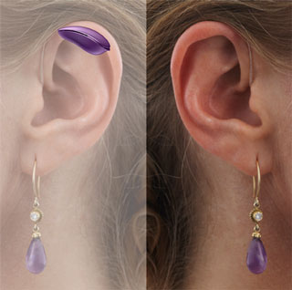 A split mirror image of a woman's ear with a RITE hearing aid with a normal view on one side and an x-ray view of the other showing the purple aid behind the ear