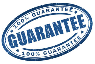 A blue stamp saying 100% guarantee