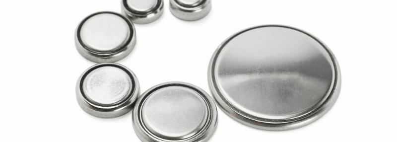 Several flat batteries arranged in a circular pattern