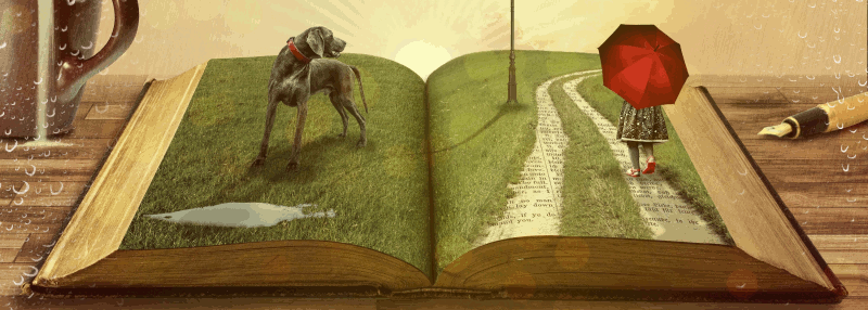 Illustration of a book with a scene coming up out of the pages - a girl with an umbrella and a dog